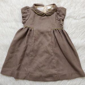 First Impression Brown and Gold Formal Baby Dress